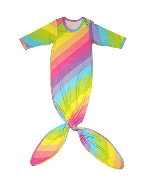 Rainbow Stripes Baby Layette Knotted Gown - FINAL SALE