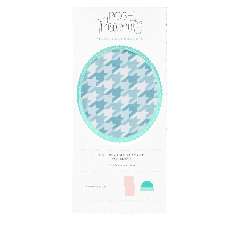 Posh-Peanut-Viscose-Bamboo-Stay-dry-fabric-reliably-chic-and-perfectly-practical-uniquely-designed-of-a-kind-swaddle in teal houndstooth