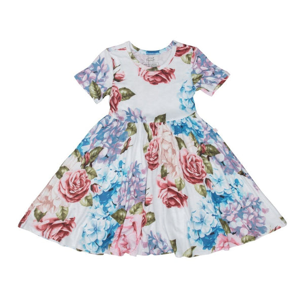 Posh-Peanut-Viscose-Bamboo-Stay-dry-fabric-reliably-chic-and-perfectly-practical-uniquely-designed-of-a-kind-mommy-twirl dress in hydrangea