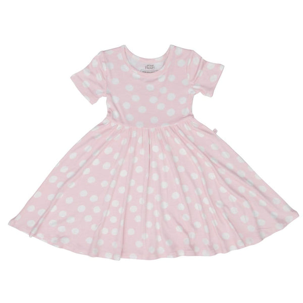 Posh-Peanut-Viscose-Bamboo-Stay-dry-fabric-reliably-chic-and-perfectly-practical-uniquely-designed-of-a-kind-pink polka dot twirl dress