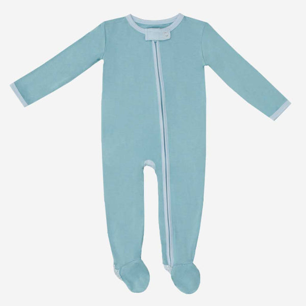 Teal Footie Zippered One Piece - FINAL SALE