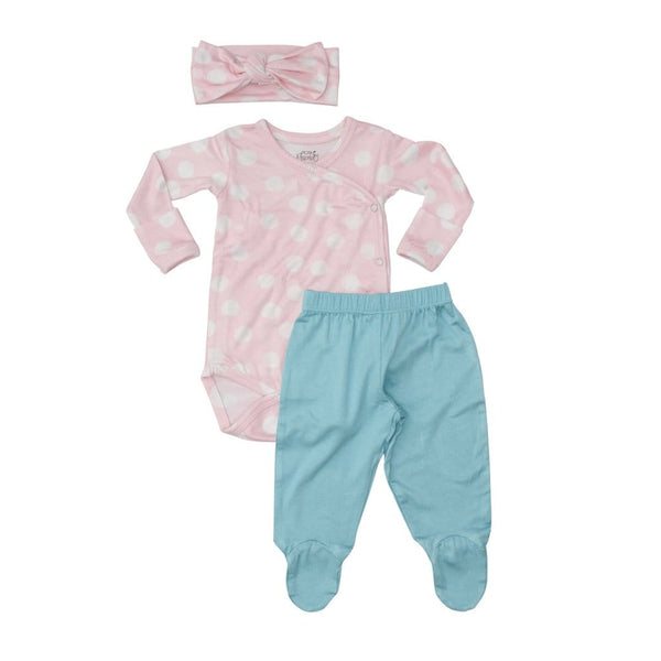 Posh-Peanut-Viscose-Bamboo-Stay-dry-fabric-reliably-chic-and-perfectly-practical-uniquely-designed-of-a-kind romper pink polka dot kimono set and matching headband