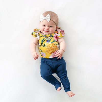 Tuscan Yellow Ruffled Cap Sleeve Bodysuit, Pants Set