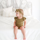 Olive Green Ruffled Cap Sleeve Bodysuit
