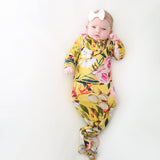 Tuscan Yellow Floral Button Knotted Gown