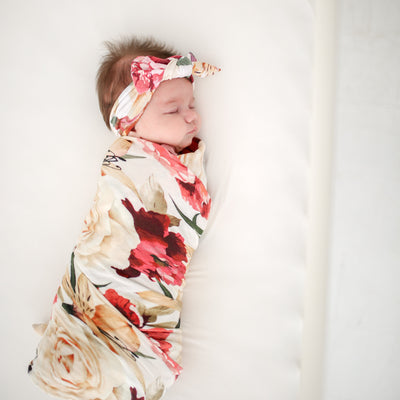 Autumn Floral Muslin Swaddle