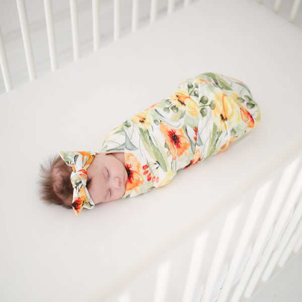 Mustard Orange Floral Muslin Swaddle - FINAL SALE