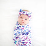 baby swaddle, girl swaddle, cute swaddle, floral swaddle, purple