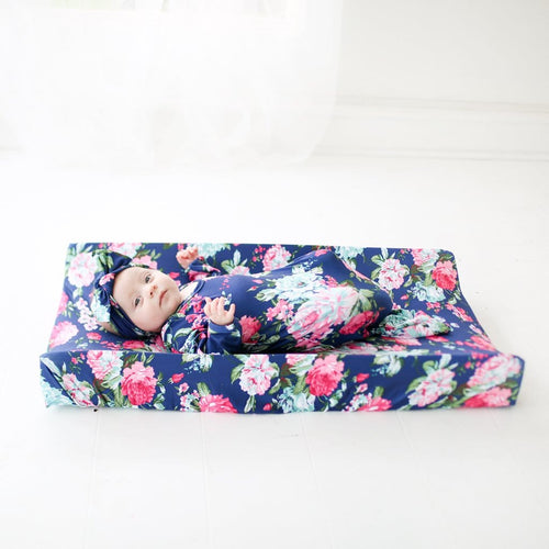Navy Blue Floral Changing Pad Cover