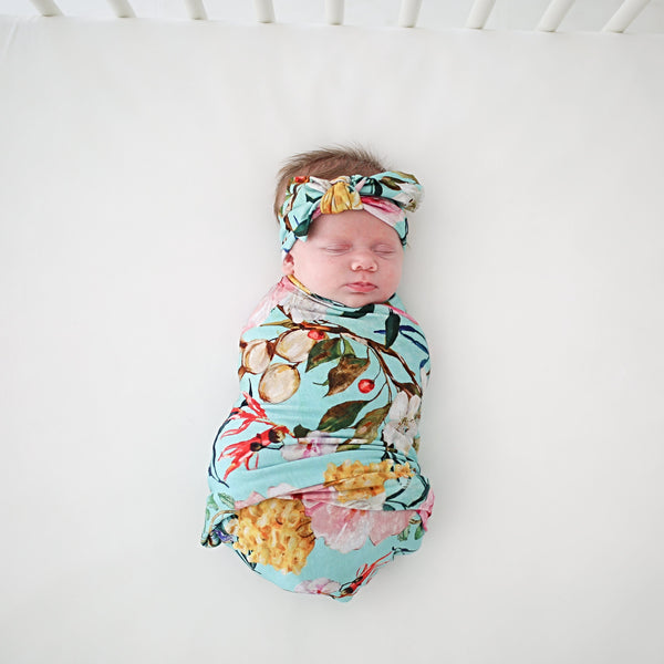 Tuscan Teal Swaddle Headband Set