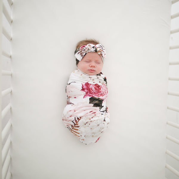 Black Rose Swaddle Headband Set