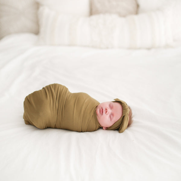 Olive Green Swaddle Headband Set