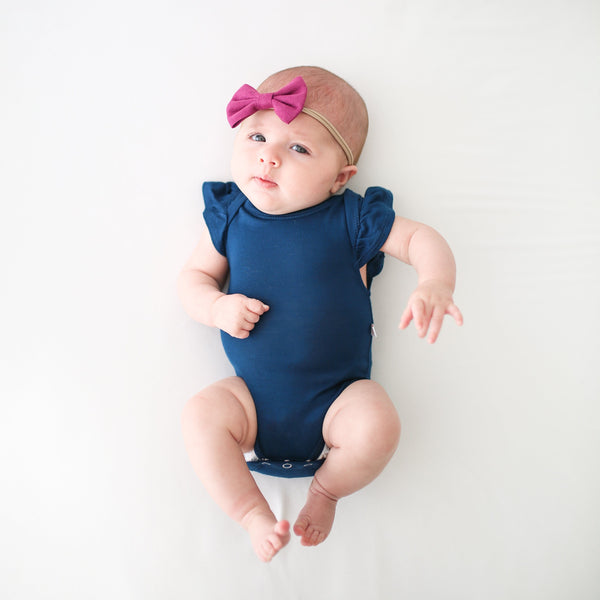 Sailor Blue Ruffled Cap Sleeve Bodysuit - FINAL SALE