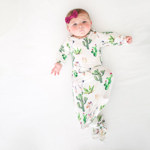Llama Layette Knotted Gown - FINAL SALE