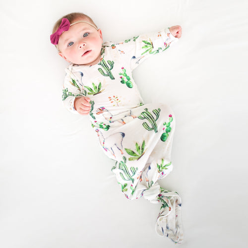 Llama Layette Knotted Gown