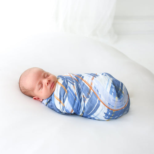 Blue Plaid Muslin Swaddle
