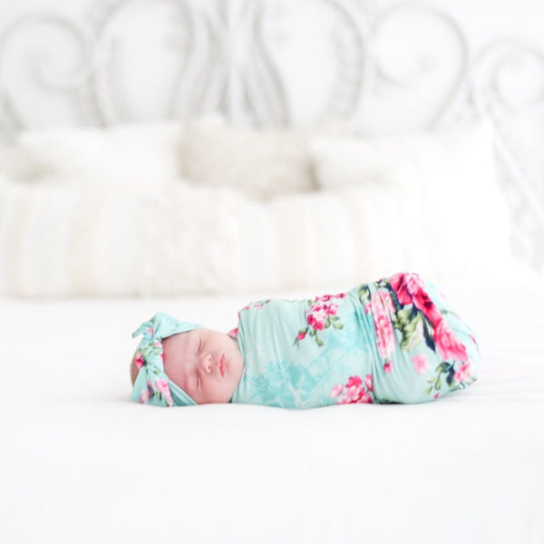 Aqua Floral Double Sided Swaddle Headband Set