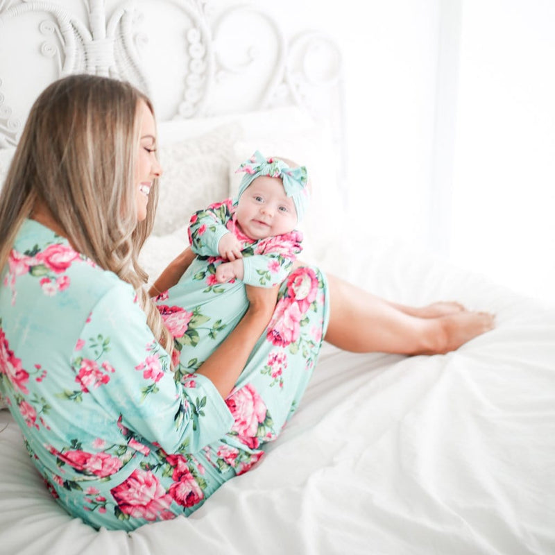 Posh-Peanut-Viscose-Bamboo-Stay-dry-fabric-reliably-chic-and-perfectly-practical-uniquely-designed-of-a-kind-mommy robe in Aqua Floral