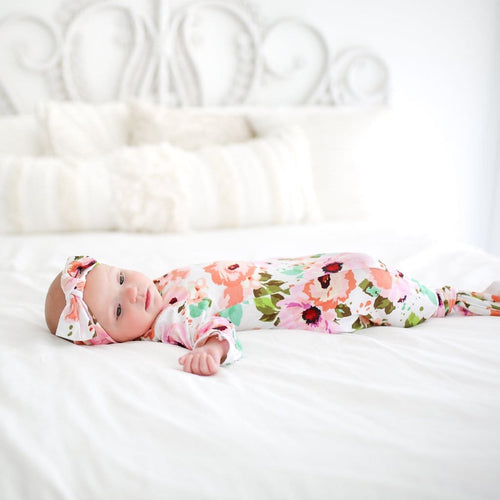 5c58f795acf35 Knotted Gown Baby | Newborn Baby Outfit | Floral Layette