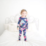 Navy Blue Floral Loungewear