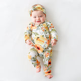 Mustard Orange Floral Ruffled Zippered One Piece