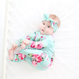 blue floral one piece, romper, onesie