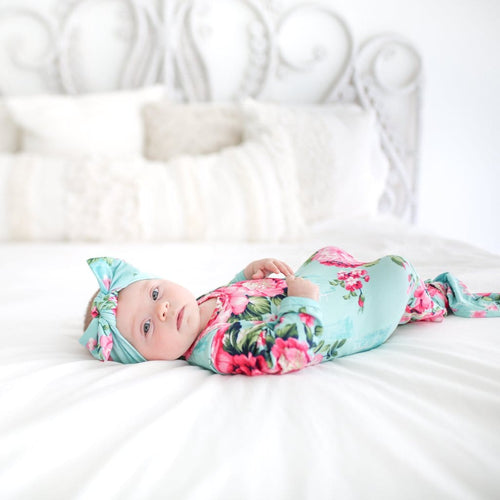 floral layette baby gown, knotted gown