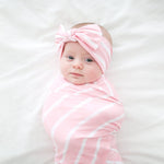 Pink & White Stripe Swaddle Headband Set
