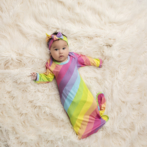 Rainbow Stripes Baby Layette Knotted Gown