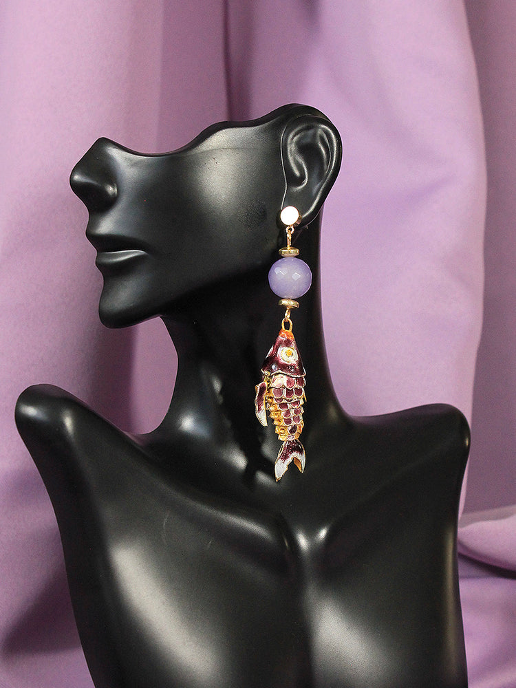 Cecilia Earrings: Lilac Agate - Navarro Official