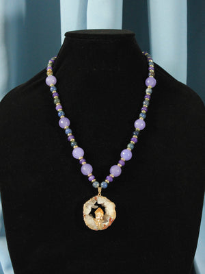 Load image into Gallery viewer, Lilac Agate & Sodalite Necklace with Quartz Pendant - Navarro Official