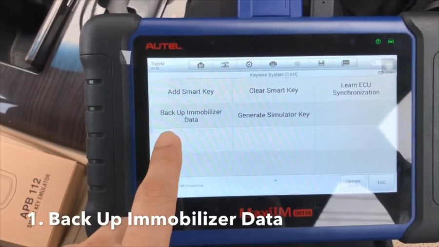 All key lost on 2017 Toyota Camry step five Back up Immobilizer Data