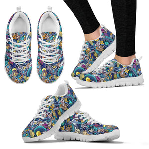 Science Pattern Handcrafted White Sole Sneakers