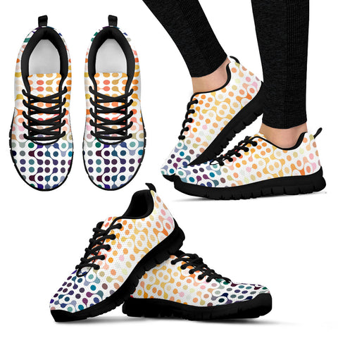 Science Pattern Handcrafted Black Sole Sneakers