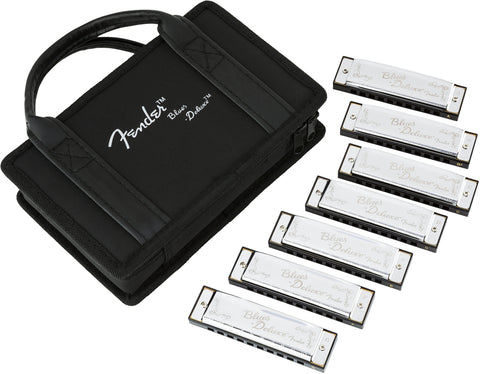 Fender Blues Deluxe Harmonica - Pack of 7, with Case - CBN Music Warehouse