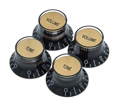 Gibson top hat knobs - Black with gold metal insert - CBN Music Warehouse
