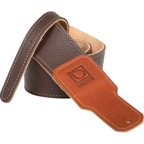 "BOSS BSL-25-BRN Leather Instrument Strap - 2.5"" Width, Brown - CBN Music Warehouse"