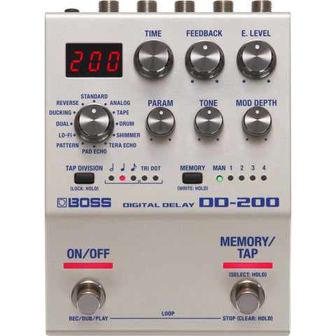 BOSS DD-200 Digital Delay Pedal for Electric Guitars - CBN Music Warehouse
