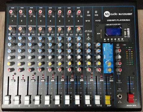 MJ Audio 12 Channel Compact Mixer w/ Effects and Built-in USB/SD Card/Bluetooth playing/recording function - CBN Music Warehouse