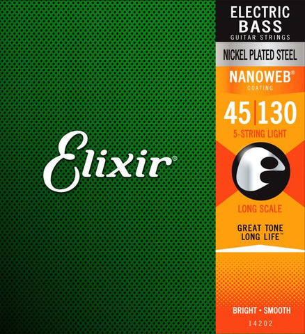 Elixir Strings Nanoweb Light Long Scale 5-String Electric Bass Strings .045-.130 - CBN Music Warehouse