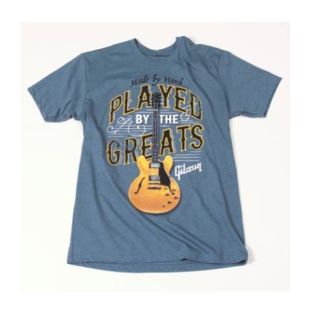Gibson Played by the greats t-shirt (indigo) small - CBN Music Warehouse