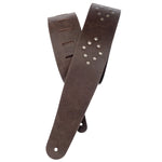 D'Addario Blasted Leather Guitar Strap - Brown with Brass Rivets - CBN Music Warehouse