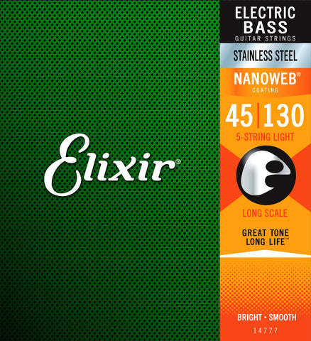 Elixir 14777 NANOWEB 5-String Medium with Light B Long Scale Electric Bass Strings (45-130)