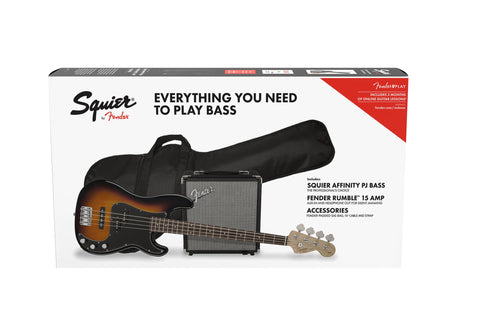 Squier Affinity Series Precision Bass PJ Pack - Brown Sunburst - CBN Music Warehouse