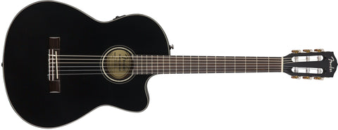 Fender CN-140SCE BLK Classical Acoustic Electric Guitar - CBN Music Warehouse