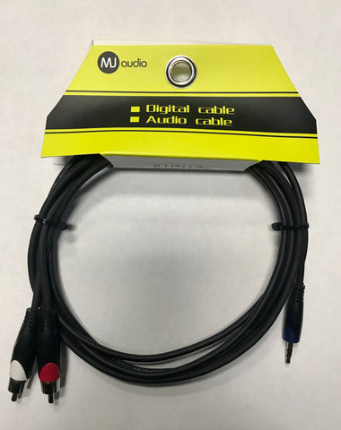 MJ Audio BJJ211 Signal Audio Cable 3.5mm Stereo to 2 RCA - 6.4 ft - CBN Music Warehouse