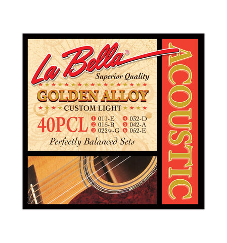 La Bella 40PCL Golden Alloy Acoustic Guitar Strings - Custom Light - CBN Music Warehouse