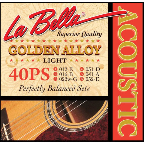 La Bella 40PS Golden Alloy Acoustic Guitar Strings - Light - CBN Music Warehouse