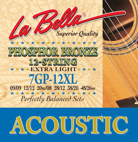 La Bella 7GP-12L 12 String, Phosphor Bronze - Light - CBN Music Warehouse