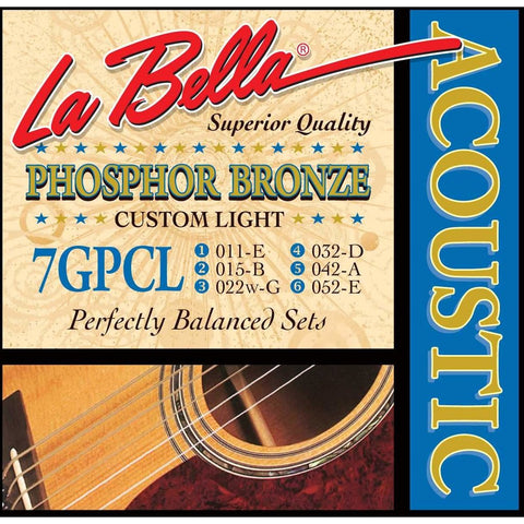 La Bella 7GPCL 11-52, Acoustic Guitar Strings - Custom Light - CBN Music Warehouse